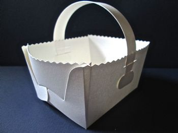 Favour Baskets Gift Box White Pearlised Card   Wedding favours  baby showers